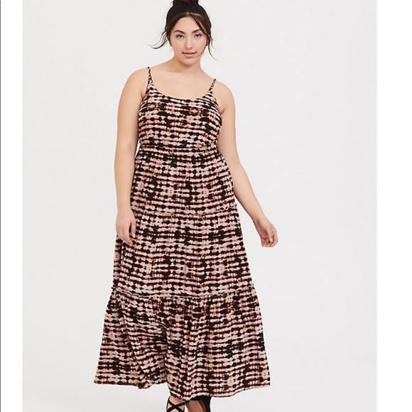 torrid Dresses & Skirts - Torrid Blk/Brn TieDye Challis Tiered Maxi Dress 0X